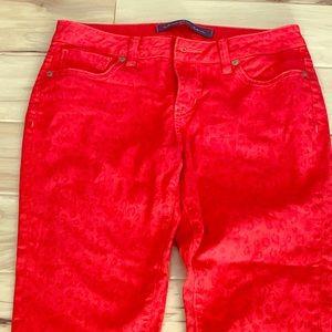 Christopher Blue red leopard print denim jeans sz4